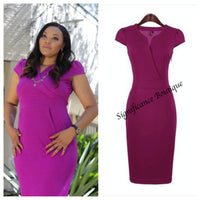Purple V-Neck Short Sleeve Dress