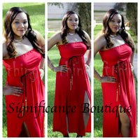 Red Double Split Dress