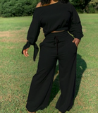 Black Two Piece Crop Top off Shoulder Sweat Suit
