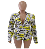 Notched Long Sleeve Letter Print Blazer (Pre-Order)
