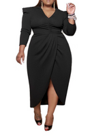 V Neck Long Sleeve Evening Dress (Pre-Order)