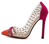 Clear, Pink, Orange High Heel Studded Shoe (preorder)