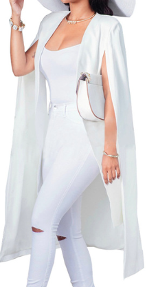 White Split Sleeve Fashion Cloak Cape Blazer
