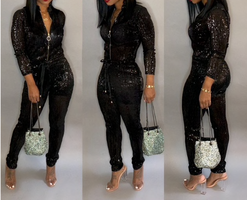 Women Long Sleeve Drawstring Front Zipper Glitter Jumpsuit (Pre-Order)