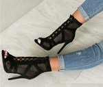Black Net Suede Fabric Cross Strap High Heel (pre-order)
