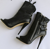 Double Ankle Strap Spike Heel Boots (pre-order)