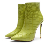 Green Stone Pattern High Heel Ankle Boots (pre-order)