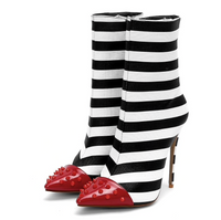 Black White and Red High Heel Rivet Striped Zipper Ankle Boots (pre-order)