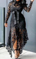 Elegant Vintage Women Long Hollow Lace Mesh Dress (pre-order)