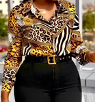 Yellow Print Leopard Women Long Sleeve Blouse (Pre-Order)