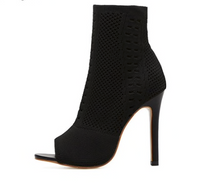 Womens Knit Sock Open Toe High Heels (Pre-Order)