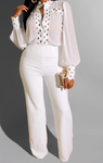 Chiffon Long Sleeve Elegant Pants Suit (Pre-Order)