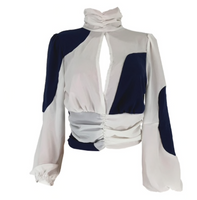 Long Lantern Sleeve Patchwork Cut Out Blouse (Pre-Order)