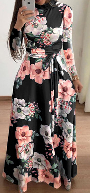 Bohemian Flower Print Maixi Dress
