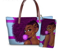 2 Pcs / Set Fashion Women Composite Art, African American, Print Purse with Coin Bag (pre-order)