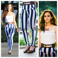 Skinny Blue N White Stripe Pants