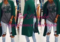 Green Long Sleeve Back Split Jacket