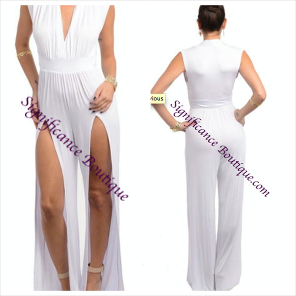 White Split Leg Jumpsuit