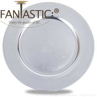 Load image into Gallery viewer, Fantastic® 13-Inch Round Plastic Charger Plates Metallic Finish, Plain Pattern