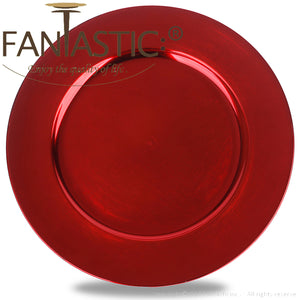 Fantastic® 13-Inch Round Plastic Charger Plates Metallic Finish, Plain Pattern