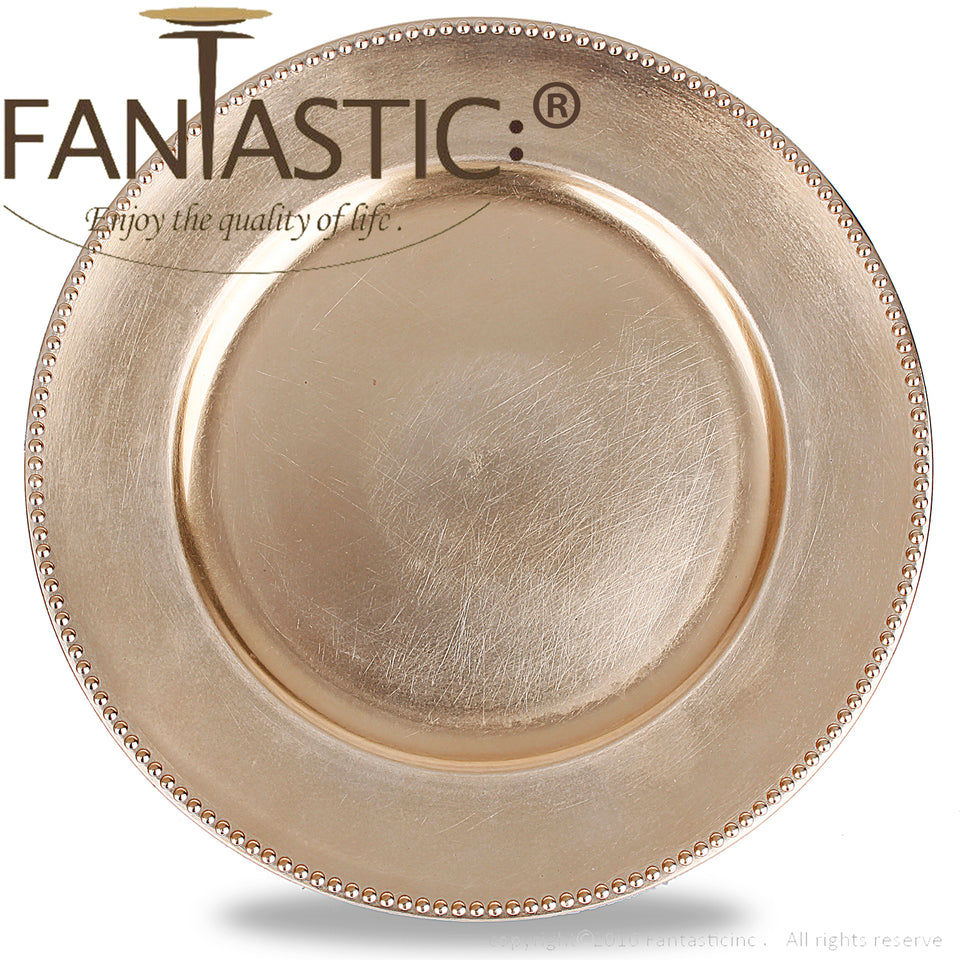 Fantastic® 13-Inch Round Plastic Charger Plates Metallic Finish, Beaded Pattern