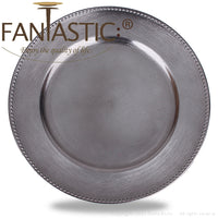 Load image into Gallery viewer, Fantastic® 13-Inch Round Plastic Charger Plates Metallic Finish, Beaded Pattern