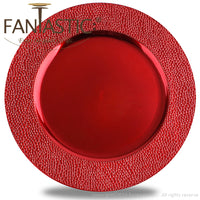 Load image into Gallery viewer, Fantastic® 13-Inch Round Plastic Charger Plates Metallic Finish, Stone Edge Pattern
