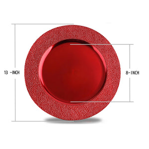 Fantastic® 13-Inch Round Plastic Charger Plates Metallic Finish, Stone Edge Pattern