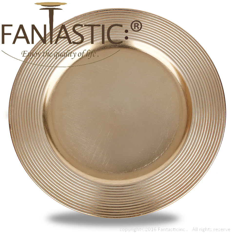 Fantastic® 13-Inch Round Plastic Charger Plates Metallic Finish, Multiturn Pattern