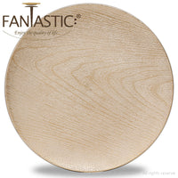 Load image into Gallery viewer, Fantastic® 13-Inch Round Plastic Charger Plates Shiny Finish, Wood Pattern