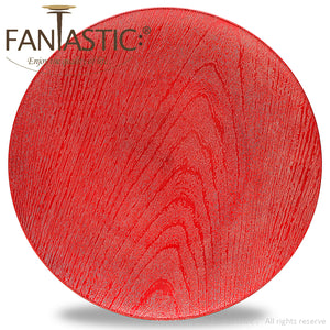 Fantastic® 13-Inch Round Plastic Charger Plates Shiny Finish, Wood Pattern
