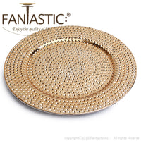 Load image into Gallery viewer, Fantastic® 13-Inch Round Plastic Charger Plates Shiny Finish, Hammer Pattern