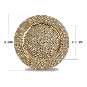 Fantastic® 13-Inch Round Plastic Charger Plates Shiny Finish, Hammer Pattern