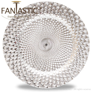 Fantastic® 13-Inch Round Plastic Charger Plates Shiny Finish, Peacock Pattern