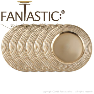 Fantastic® 13-Inch Round Plastic Charger Plates Metallic Finish, Hammer Edge Pattern