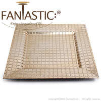 Load image into Gallery viewer, Fantastic® 13-Inch Square Plastic Charger Plates Shiny Finish, Grid Pattern