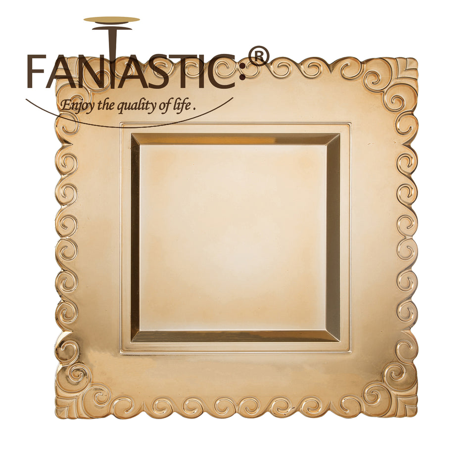 Fantastic® 13-Inch Square Plastic Charger Plates Shiny Finish, Circle Pattern