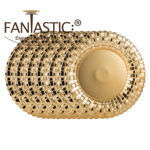 Fantastic® 13-Inch Round Plastic Charger Plates Shiny Finish, Braided Pattern