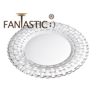 Load image into Gallery viewer, Fantastic® 13-Inch Round Plastic Charger Plates Shiny Finish, Braided Pattern