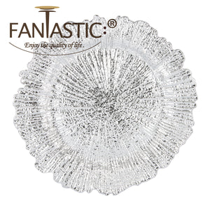 Fantastic® 13-Inch Round Plastic Charger Plates Shiny Finish, Reef Pattern