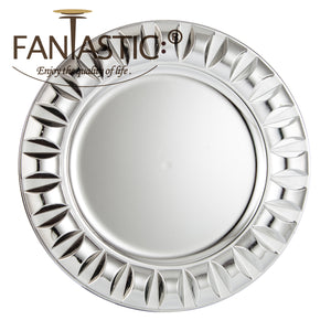 Fantastic® 13-Inch Round Plastic Charger Plates Shiny Finish, Beadeds Pattern