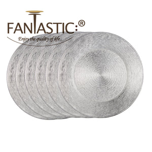 Fantastic® 13-Inch Round Plastic Charger Plates Shiny Finish, Circle Pattern