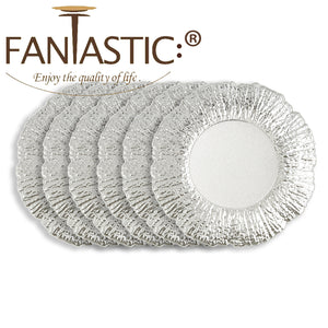 Fantastic® 13-Inch Round Plastic Charger Plates Shiny Finish, Flower Pattern