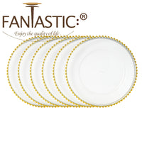 "Load image into Gallery viewer, Fantastic® 13-Inch Round Faux Glass""Plastic"" Charger Plates Clear Finish, Beaded Pattern"