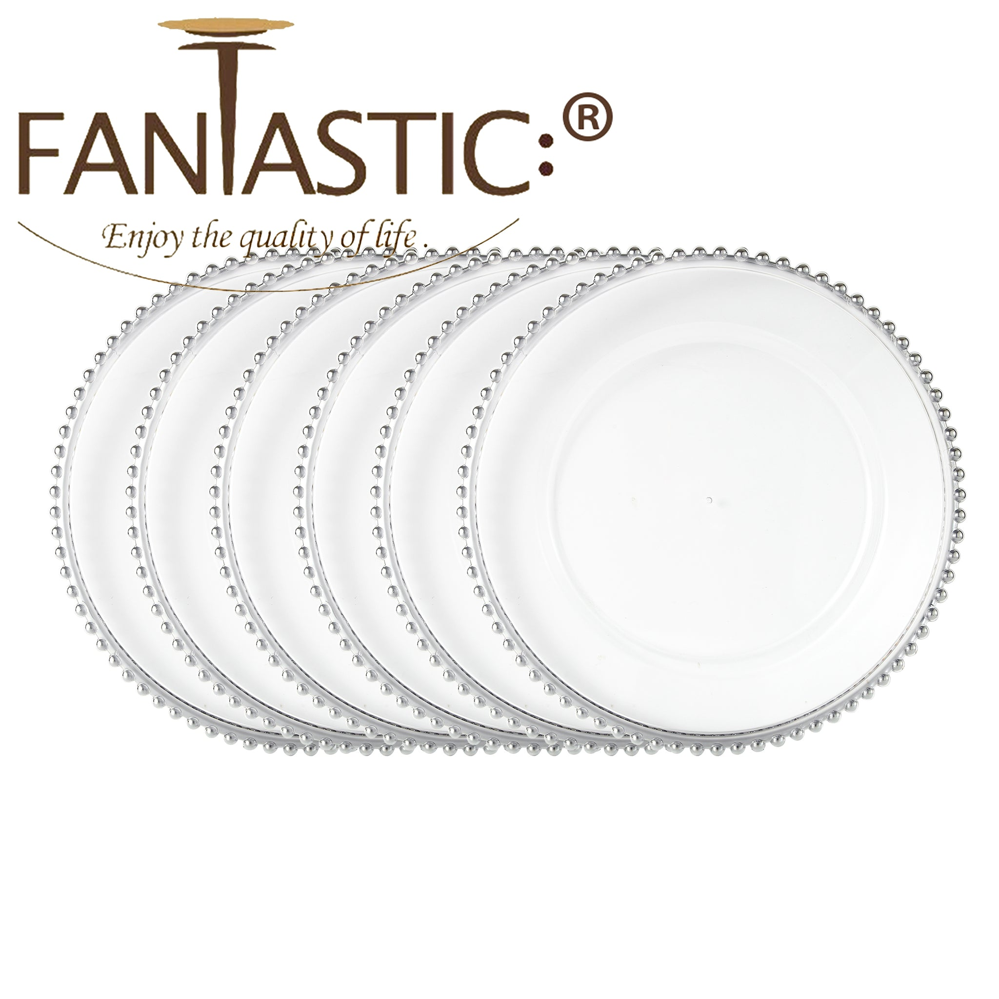 Fantastic 13 Inch Round Faux Glass Plastic Charger Plates Clear Fini Fantastic Import