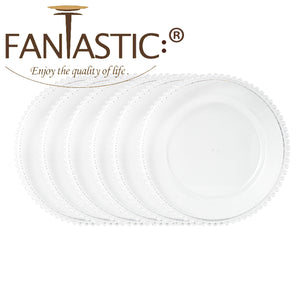 "Fantastic® 13-Inch Round Faux Glass""Plastic"" Charger Plates Clear Finish, Beaded Pattern"