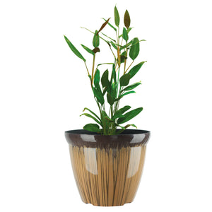 FANTASTIC :) 11-INCH Round Drum Shape Decorative Plastic Planters ,Glaze Shiny Finish