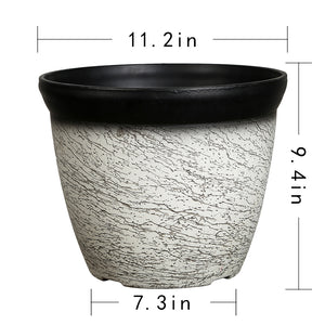 FANTASTIC :) 11-INCH Round Drum Shape Decorative Plastic Planters, Flaw Shiny Finish