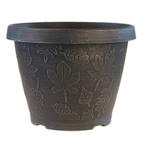 Load image into Gallery viewer, FANTASTIC :) 9.5-INCH Round Shape Finish Decorative Thin Plastic Planters, Antique Leaf Brushed Finish