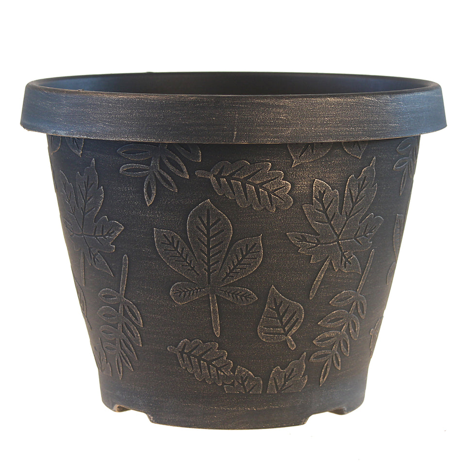 FANTASTIC :) 9.5-INCH Round Shape Finish Decorative Thin Plastic Planters, Antique Leaf Brushed Finish